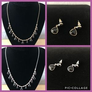 GOLD/BLACK & SILVER/BLACK NECKLACE/EARRINGS SETS